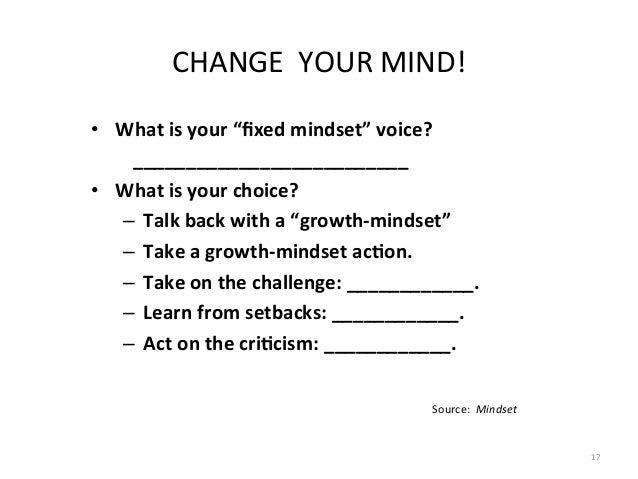 """CHANGE    YOUR  MIND!   • What  is  your  """"fixed  mindset""""  voice?       _________________________..."""
