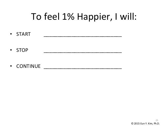 To  feel  1%  Happier,  I  will: • START        ____________________________      • STOP      __...