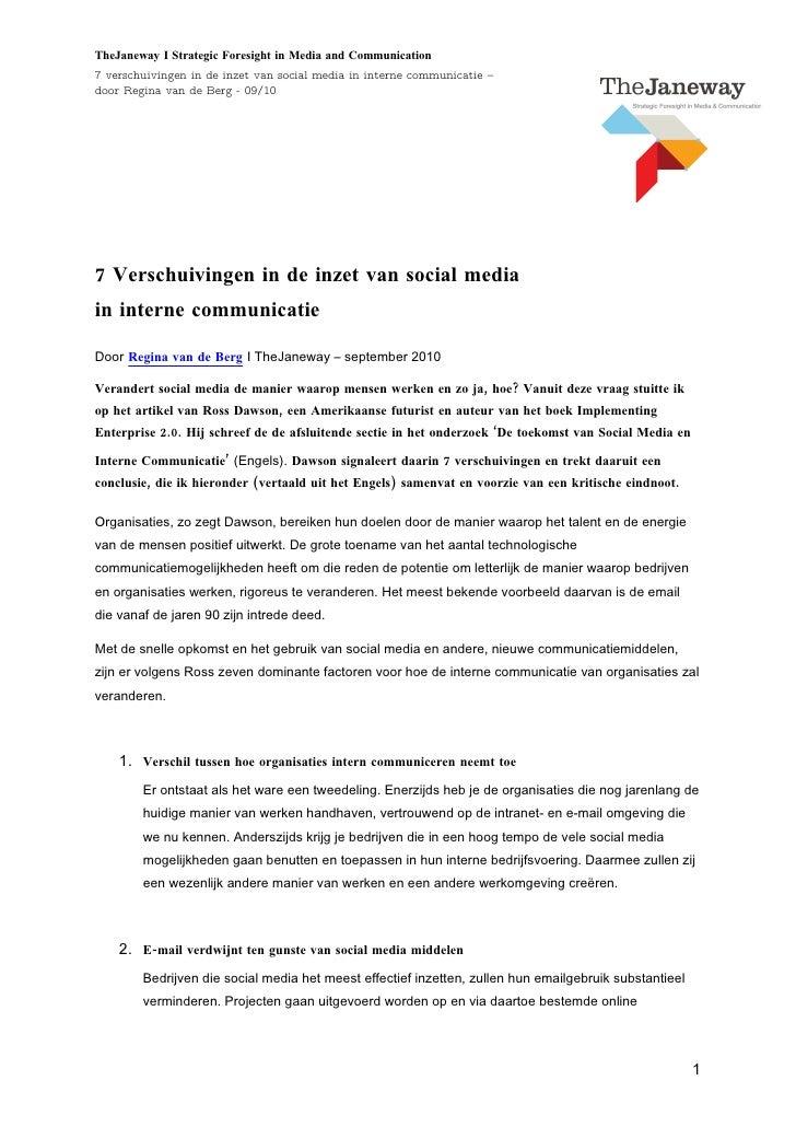 TheJaneway I Strategic Foresight in Media and Communication 7 verschuivingen in de inzet van social media in interne commu...