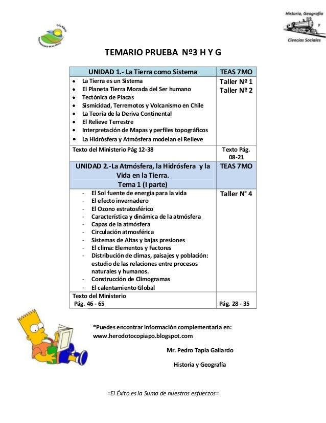 TEMARIO PRUEBA Nº3 H Y G *Puedes encontrar información complementaria en: www.herodotocopiapo.blogspot.com Mr. Pedro Tapia...