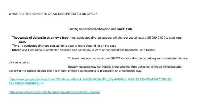 Divorce attorney charlotte 704 207 0046 7 what are the benefits of an uncontested divorce solutioingenieria Images
