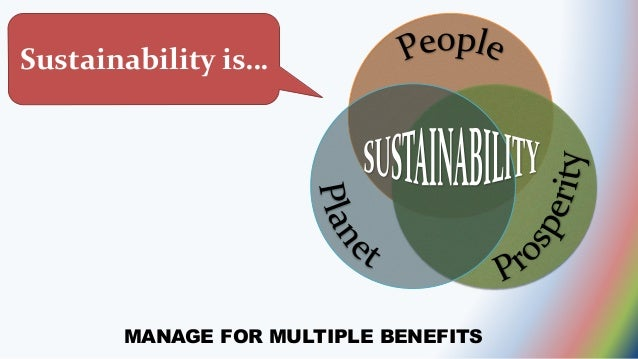 MANAGE FOR MULTIPLE BENEFITS Sustainability is…