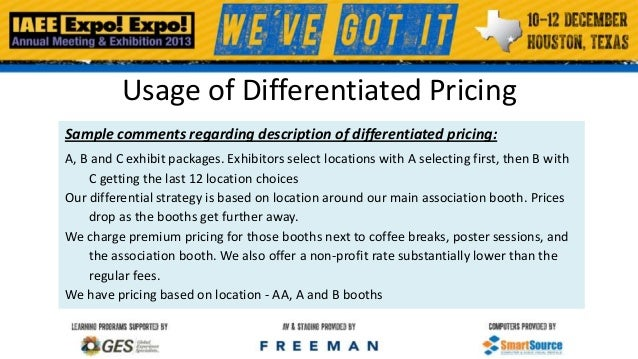 Usage of Differentiated Pricing Sample comments regarding description of differentiated pricing: A, B and C exhibit packag...