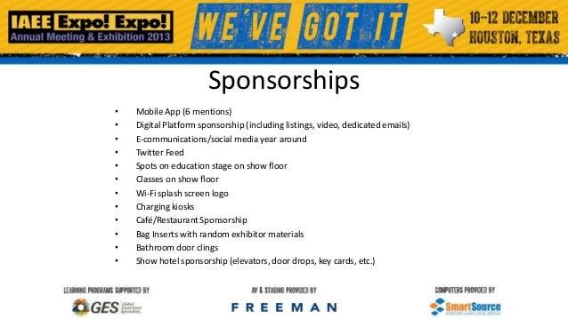 Sponsorships • • • • • • • • • • • •  Mobile App (6 mentions) Digital Platform sponsorship (including listings, video, ded...