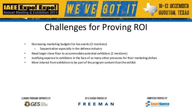 Challenges for Proving ROI • • • •  Decreasing marketing budgets for live events (2 mentions) – Sequestration especially i...