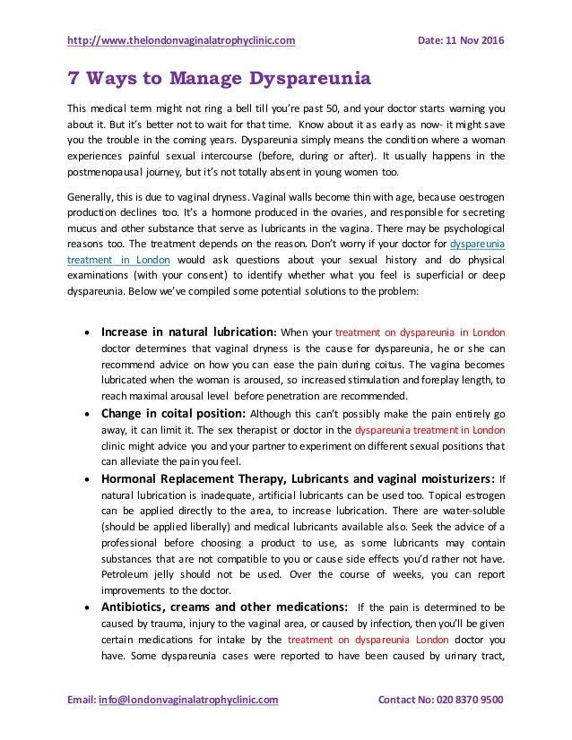 http://www.thelondonvaginalatrophyclinic.com Date: 11 Nov 2016 Email: info@londonvaginalatrophyclinic.com Contact No: 020 ...