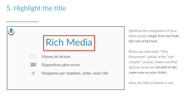 """Optimize the recognition of your titles using a larger font size than the rest of the text. When you select the """"Title Pla..."""