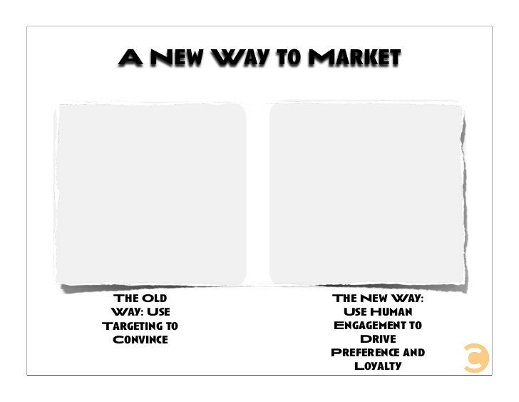 A New Way to Market                     The New Way:  The Old                  Use Human  Way: Use                 Engagem...
