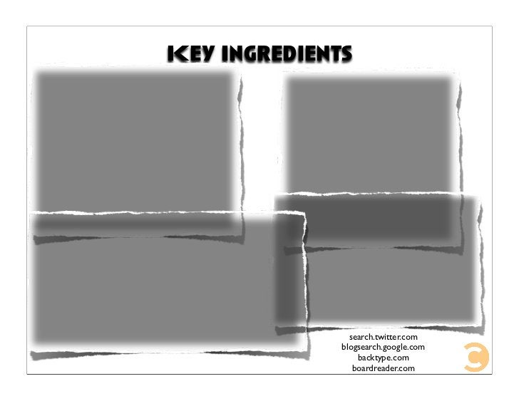 Key Ingredients                     search.twitter.com               blogsearch.google.com                   backtype.com ...