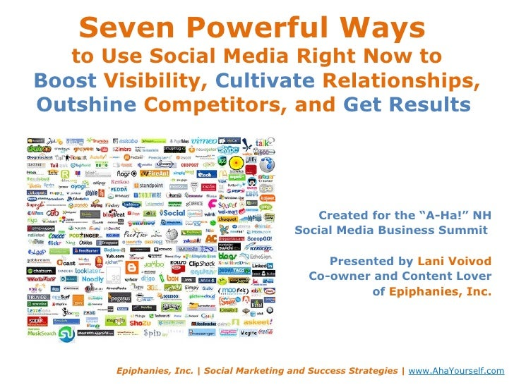 Seven Powerful Ways  to Use Social Media Right Now to Boost  Visibility,  Cultivate  Relationships,  Outshine  Competitors...