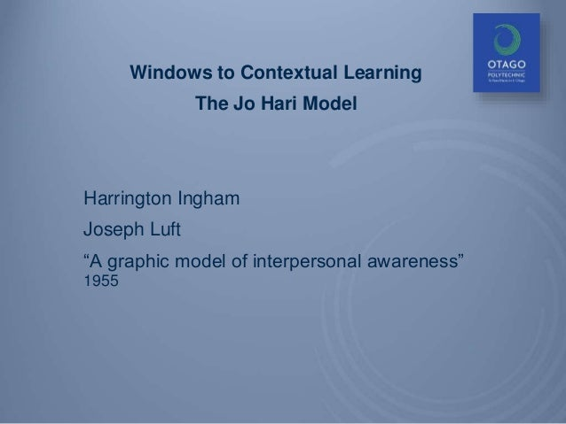 "Windows to Contextual Learning The Jo Hari Model Harrington Ingham Joseph Luft ""A graphic model of interpersonal awareness..."