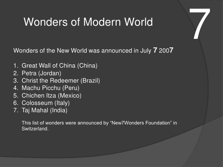 a description of the remaining seven wonders of the ancient world The last remaining wonder of 'the seven wonders of the ancient world' is the great pyramid of khofu at giza (now part of cairo, egypt.