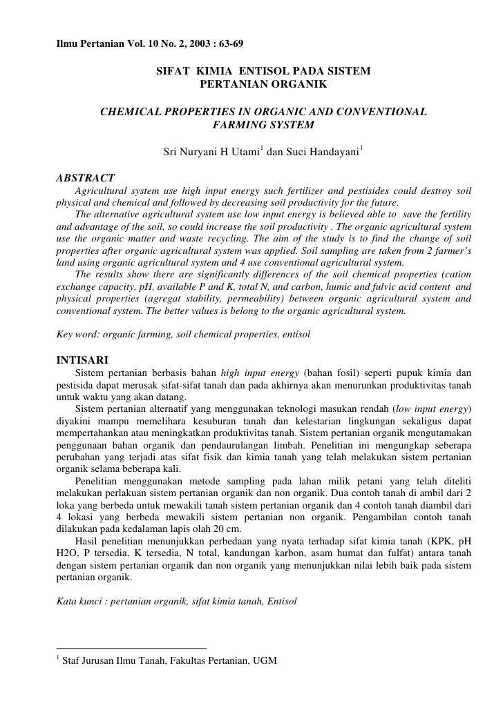 Ilmu Pertanian Vol. 10 No. 2, 2003 : 63-69                         SIFAT KIMIA ENTISOL PADA SISTEM                        ...