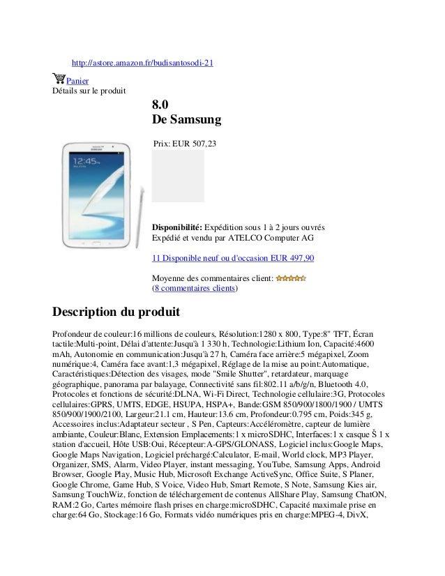 http://astore.amazon.fr/budisantosodi-21PanierDétails sur le produit8.0De SamsungPrix: EUR 507,23Disponibilité: Expédition...
