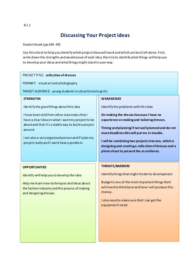 8.1.1 Discussing Your Project ideas Studentbook (pp246 -49) Use thissheettohelpyouidentifywhichprojectideaswill workandwhi...