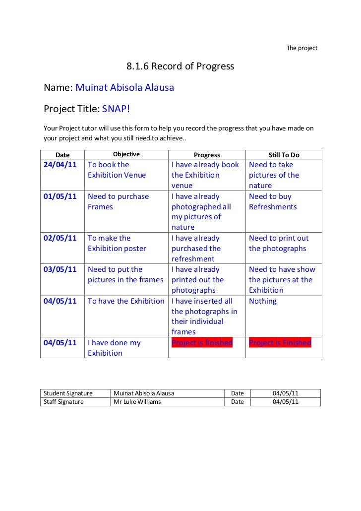 The project<br />8.1.6 Record of Progress<br />Name: Muinat Abisola Alausa<br />Project Title: SNAP!<br />Your Project tut...