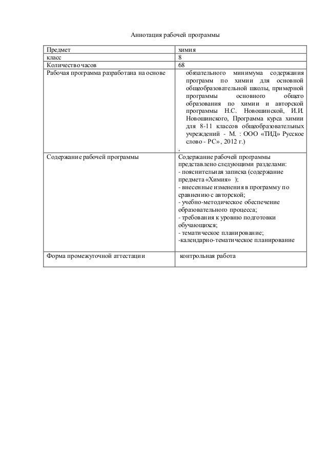 Аннотация рабочей программы Предмет химия класс 8 Количество часов 68 Рабочая программа разработана на основе обязательног...