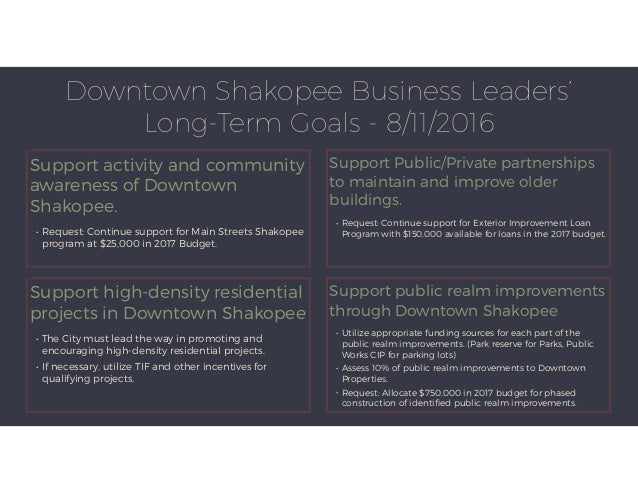 Downtown Shakopee Business Leaders' Long-Term Goals - 8/11/2016 Support activity and community awareness of Downtown Shako...