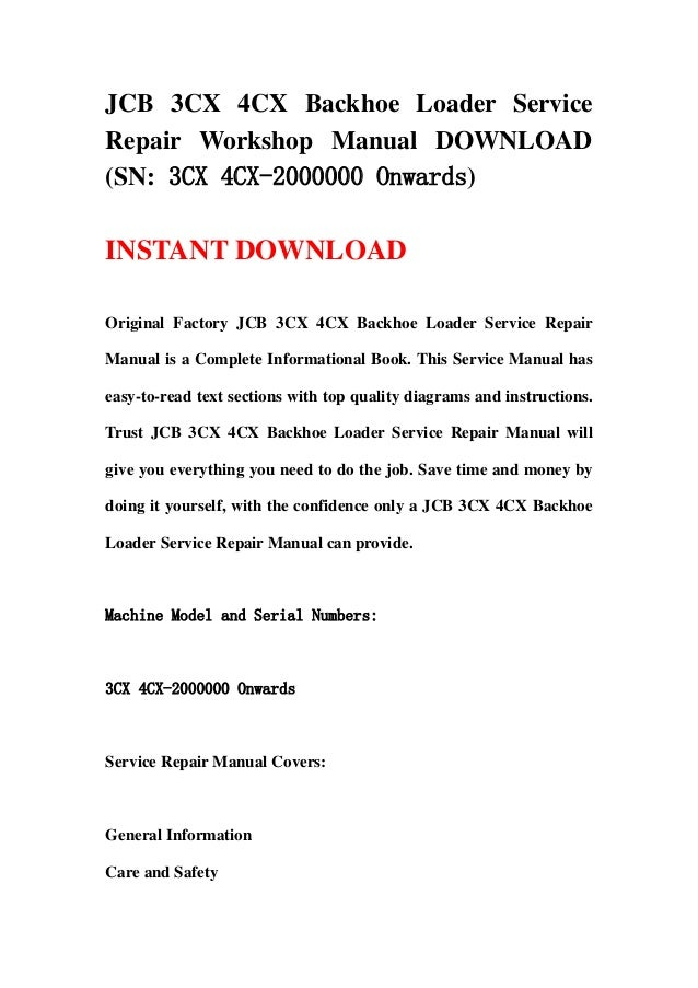 JCB 3CX 4CX Backhoe Loader Service Repair Workshop Manual