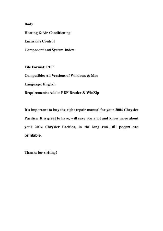 2004 chrysler pacifica service repair manual download rh slideshare net 2004 chrysler pacifica repair manual free pdf haynes repair manual 2004 chrysler pacifica