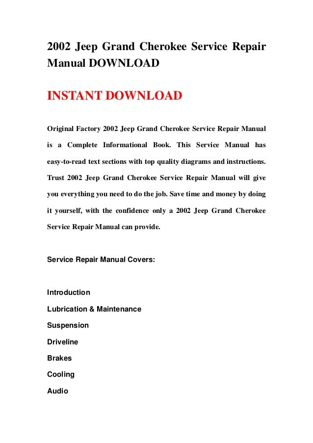 2002 jeep grand cherokee service manual free download