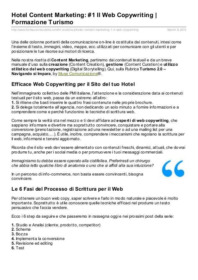 Hotel Content Marketing: #1 Il Web Copywriting |Formazione Turismohttp://www.formaz ioneturismo.com/in- evidenz a/hotel- c...