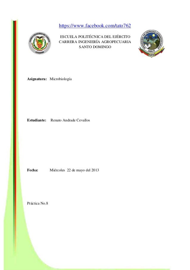 https://www.facebook.com/tato762 ESCUELA POLITÉCNICA DEL EJÉRCITO CARRERA INGENIERÍA AGROPECUARIA SANTO DOMINGO Asignatura...