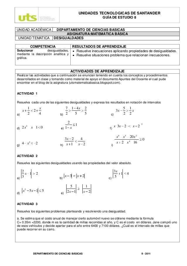 UNIDADES TECNOLOGICAS DE SANTANDER GUÍA DE ESTUDIO 8  UNIDAD ACADÉMICA UNIDAD TEMATICA  DEPARTAMENTO DE CIENCIAS BASICAS A...