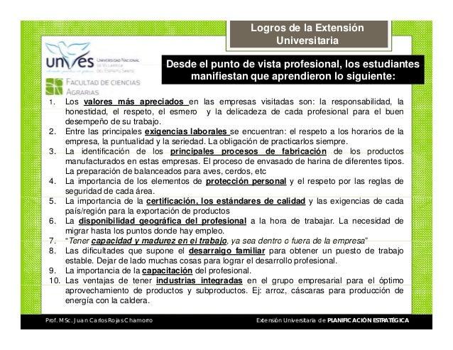 Logros de la Extensión Universitaria Desde el punto de vista profesional los estudiantes profesional, manifiestan que apre...
