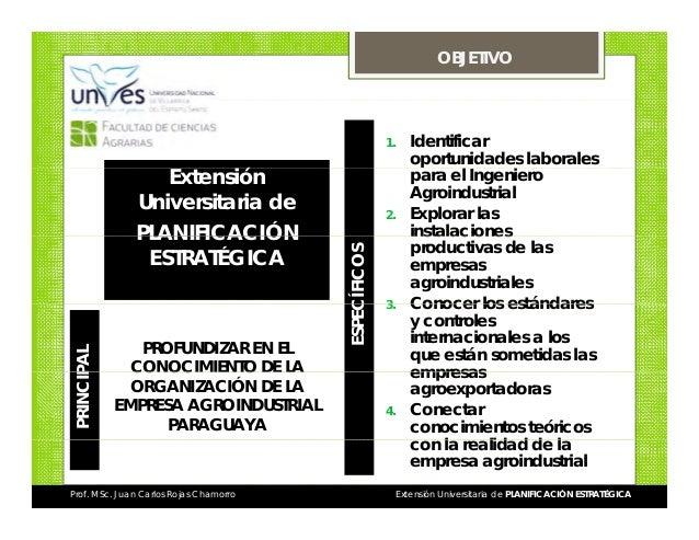 OBJETIVO  1.  PROFUNDIZAR EN EL CONOCIMIENTO DE LA ORGANIZACIÓN DE LA EMPRESA AGROINDUSTRIAL PARAGUAYA  Prof. MSc. Juan Ca...