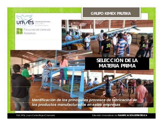 GRUPO KIMEX FRUTIKA  SELECCIÓN DE LA MATERIA PRIMA  Identificación de los principales procesos de fabricación de los produ...