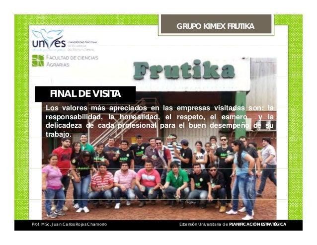 GRUPO KIMEX FRUTIKA  FINAL DE VISITA Los valores más apreciados en las empresas visitadas son: la responsabilidad, la hone...