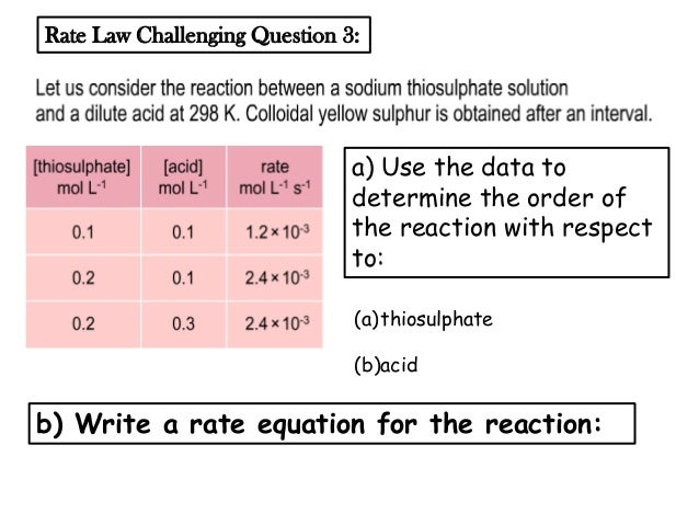 reaction rate and rate law Rate law relates the rate of a reaction to the concentration of the reactants the rate expression just expresses or defines what rate is in your example, rate.