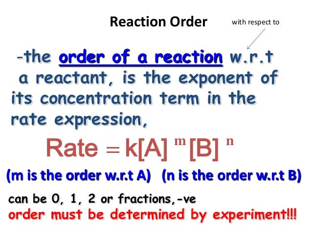 reaction order and rate laws Experiment 6: the rate law of an iodine clock reaction 61 purpose: the rate law for the reaction of an iodine clock reaction is to be established it involves the determination of the order of reaction with respect to each of two reactants, as.