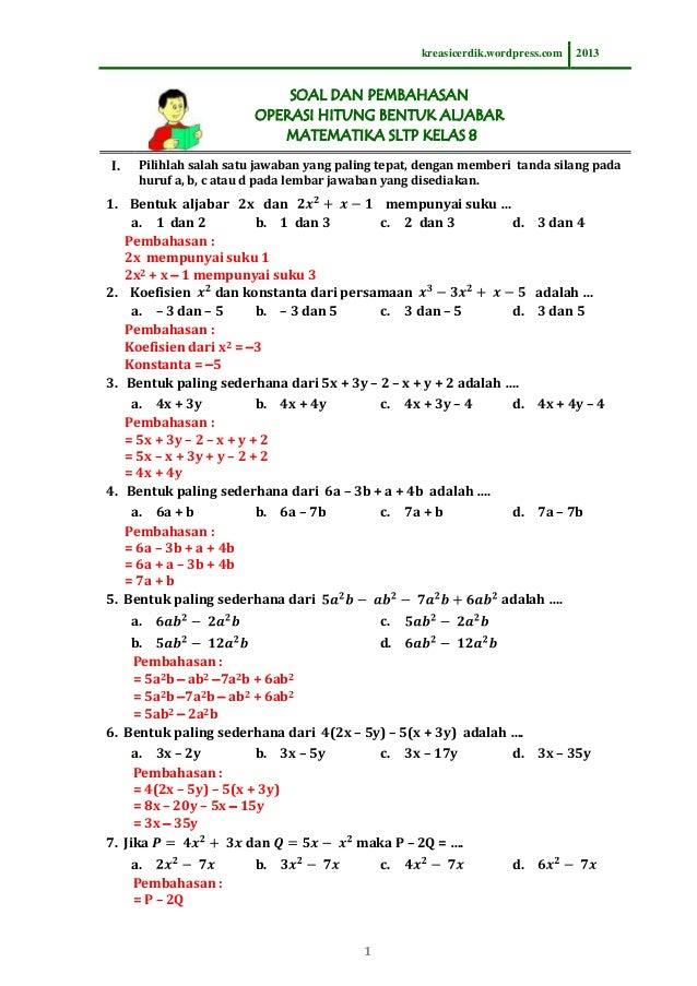 8.1.1 soal dan pembahasan operasi hitung bentuk aljabar matematika