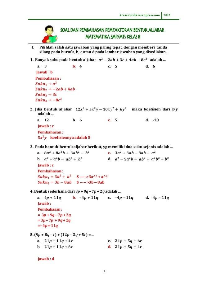 8.2.1 soal dan pembahasan pemfaktoran bentuk aljabar matematika slt…