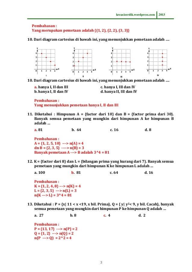 831 soal dan pembahasan relasi fungsi matematika sltp kelas 8 i 3 ccuart Gallery