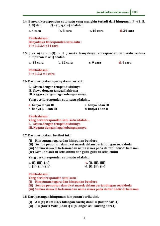8 3 1 Soal Dan Pembahasan Relasi Fungsi Matematika Sltp Kelas 8