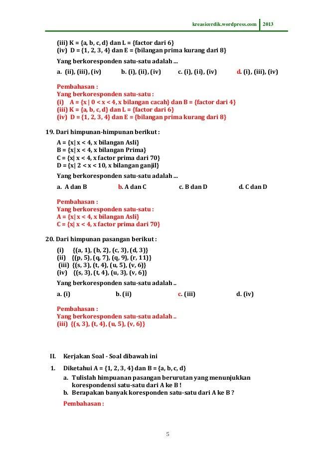 831 soal dan pembahasan relasi fungsi matematika sltp kelas 8 5 ccuart Image collections