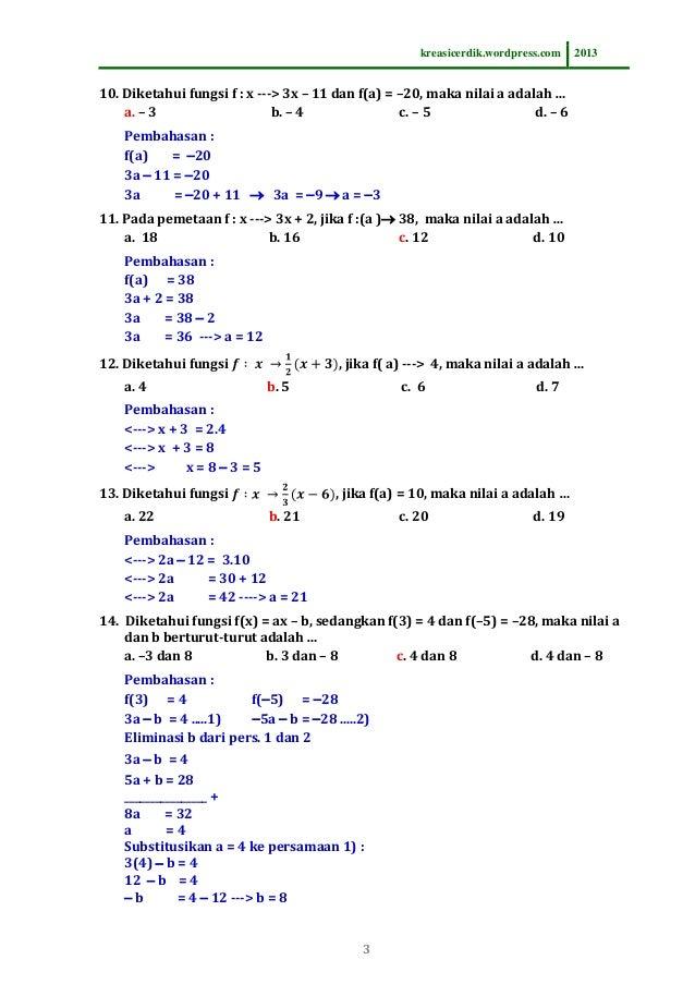 Contoh Soal Fungsi Matematika Kelas 10 - Berbagi Contoh Soal