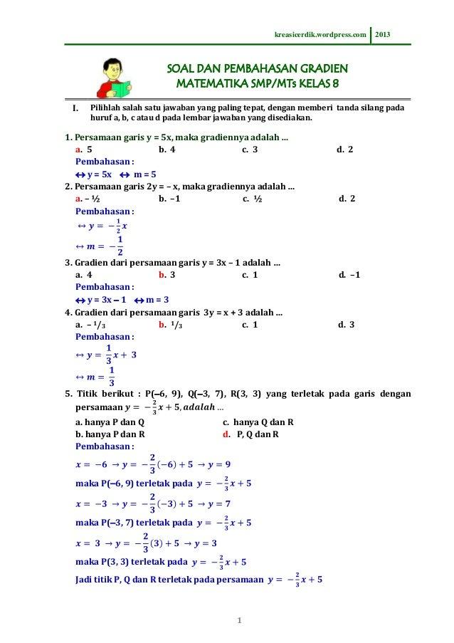 8.5.1 soal dan pembahasan gradien, matematika sltp kelas 8