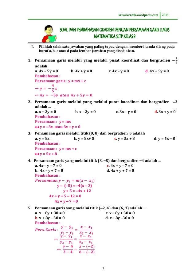 8.6.1 soal dan pembahasan persamaan garis lurus, matematika sltp ke\u2026