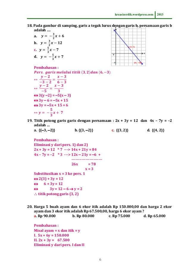 8 6 1 Soal Dan Pembahasan Persamaan Garis Lurus Matematika Sltp Ke