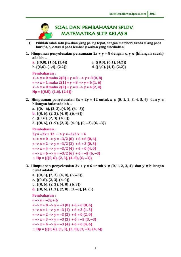 8.7.1 soal dan pembahasan spldv, matematika sltp kelas 8