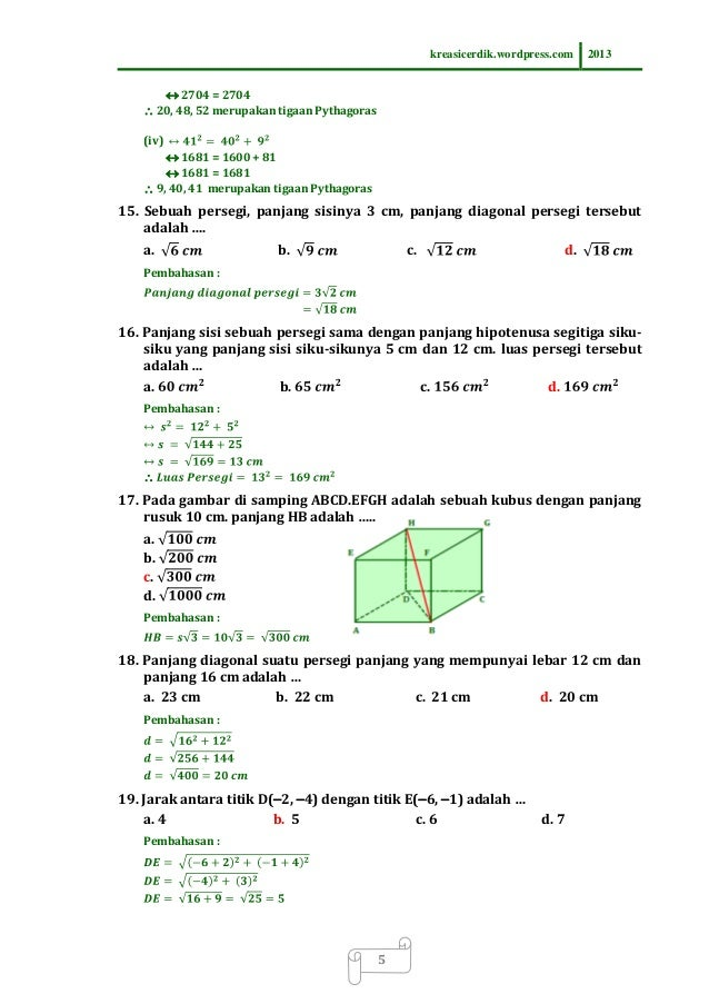 Contoh Soal Penerapan Teorema Pythagoras