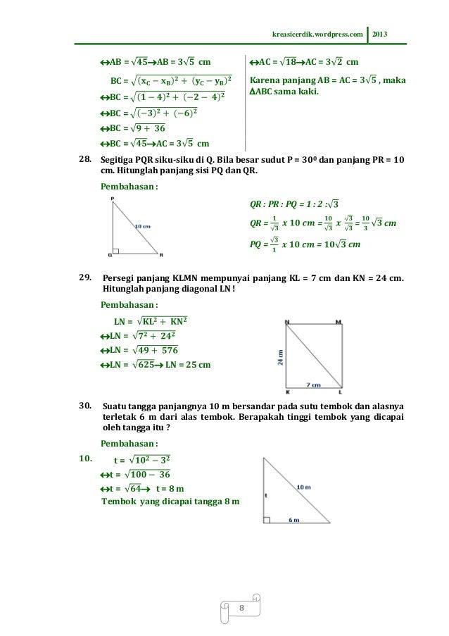 8 8 1 Soal Dan Pembahasan Teorema Pythagoras Matematika Sltp Kelas