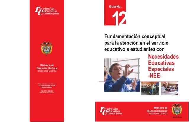 Guía No.  12  Fundamentación conceptual para la atención en el servicio educativo a estudiantes con Ministerio de Educació...