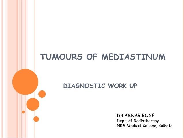 TUMOURS OF MEDIASTINUM DIAGNOSTIC WORK UP  DR ARNAB BOSE  Dept. of Radiotherapy NRS Medical College, Kolkata
