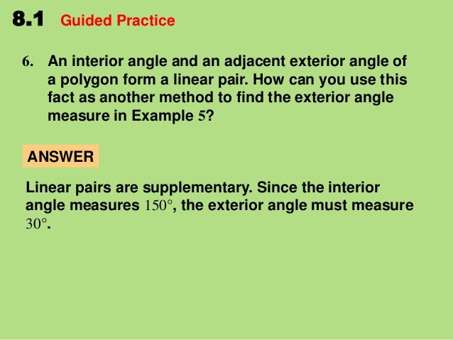8 1 find angle measures in polygons - Find exterior angle of a polygon ...