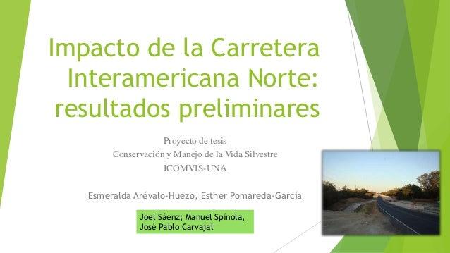 Impacto de la Carretera Interamericana Norte: resultados preliminares Proyecto de tesis Conservación y Manejo de la Vida S...